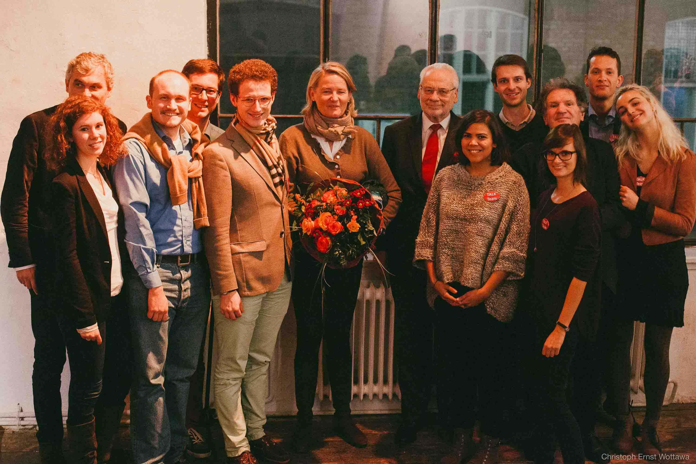 Das TALK-Team Jg 2014/15 mit Erhard Busek, Doraja Eberle und Fritz Orter